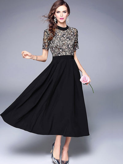 Fashion O-Neck Lace Patchwork Maxi Dress