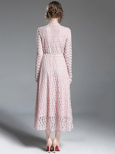 Elegant Stand Collar Long Sleeve Lace Maxi Dress