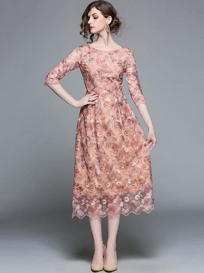 Elegant O-Neck 3/4 Sleeve Embroidery Gathered A-Line Dress
