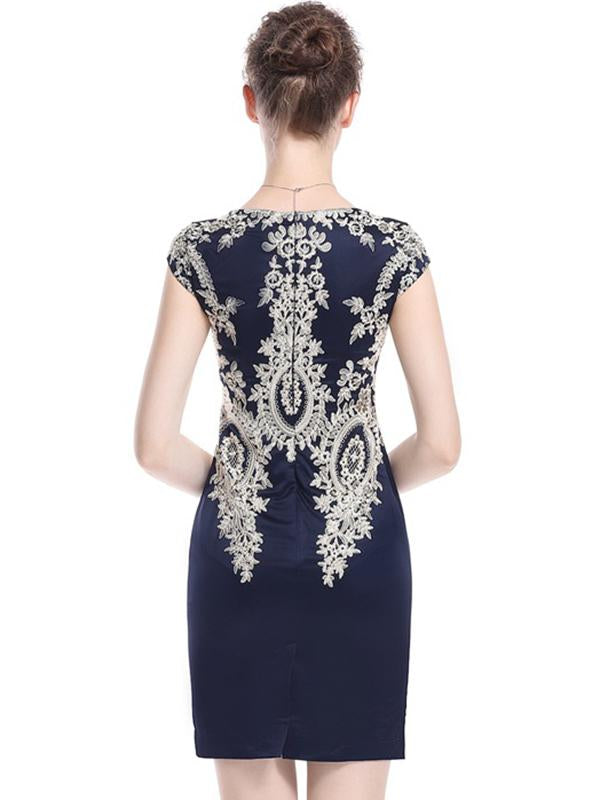 Party Embroidery V-Neck Short Sleeve Bodycon Dress