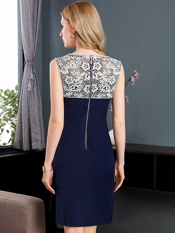 Party Lace Stitching O-Neck Sleeveless Mermaid Bodycon Dress