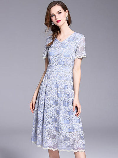 Elegant Lace Hollow Out O-Neck Short Sleeve A-Line Dress