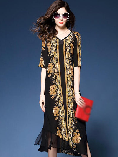 Fashion Chiffon V-Neck Irregular Hem Print Shift Dress