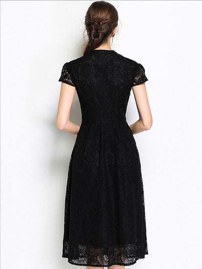 Vintage Lace V-Neck Short Sleeve Big Hem A-Line Dress