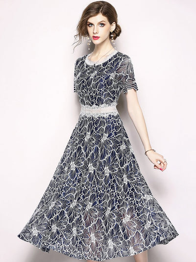 Fashion Embroidery O-Neck Short Sleeve Mesh Maxi Dress
