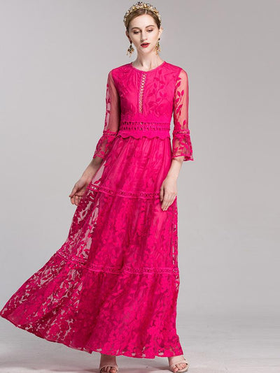 Embroidery O-Neck Puff Sleeve Big Hem Maxi Dress