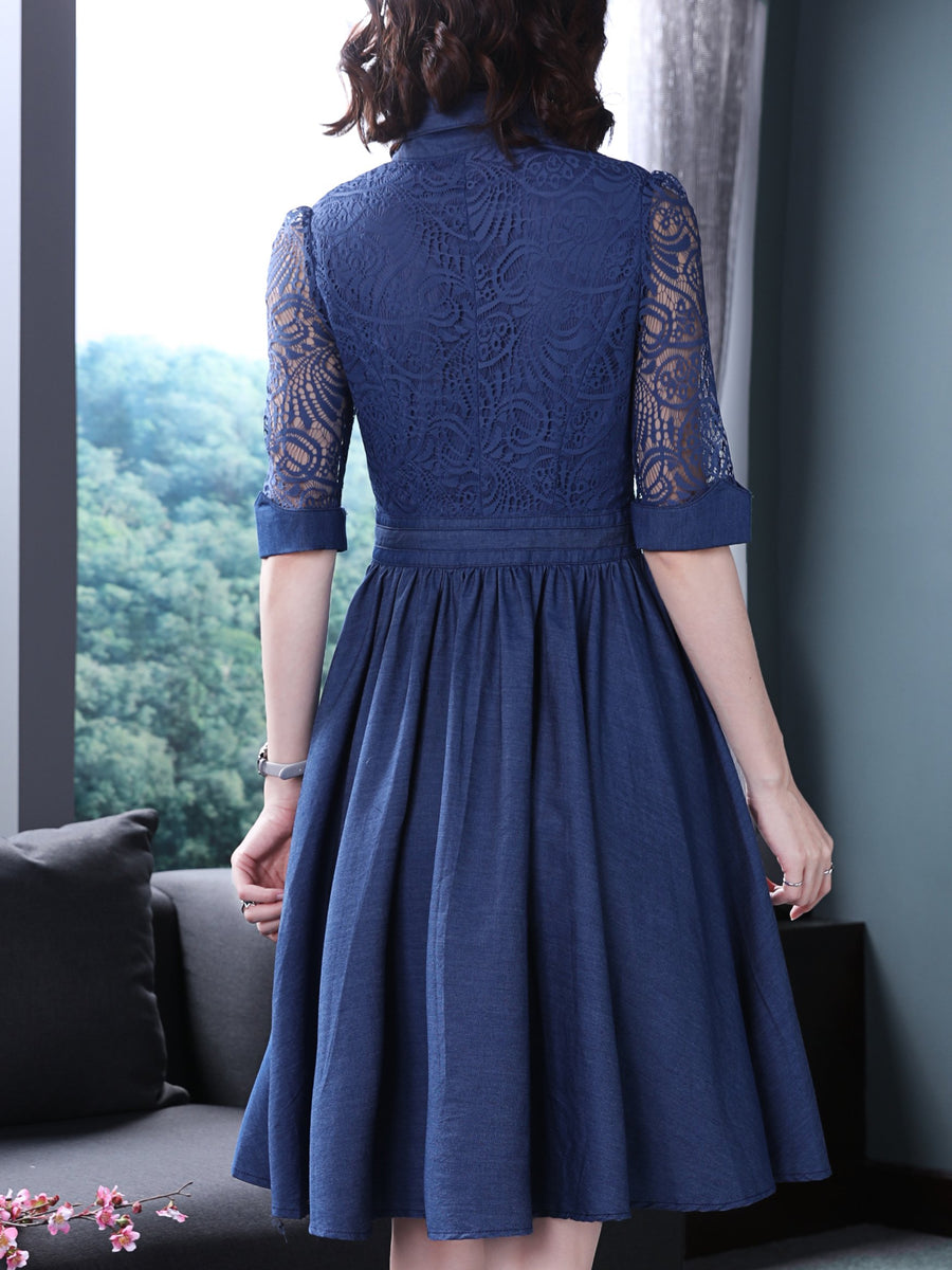 Lace Stitching Turn-Down Collar Denim A-Line Dress