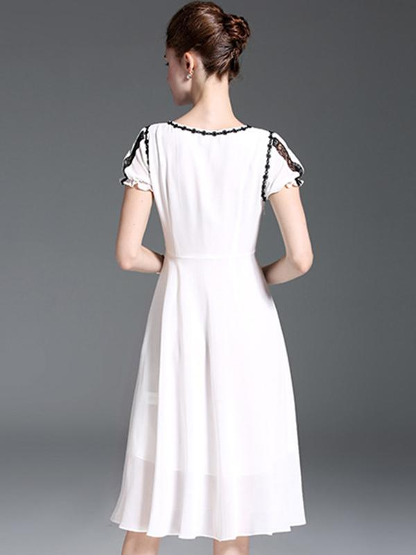 Lace Stitching O-Neck Sleeve Chiffon Skater Dress