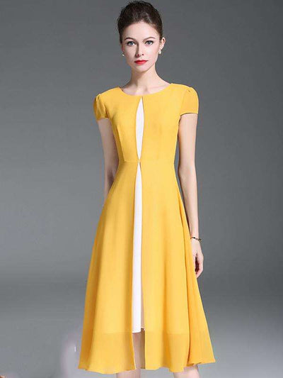 Yellow O-Neck Short Sleeve Chiffon Skater Casual Dresses