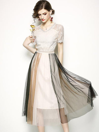 Lace Stitching Hit Color V-Neck A-Line Dress