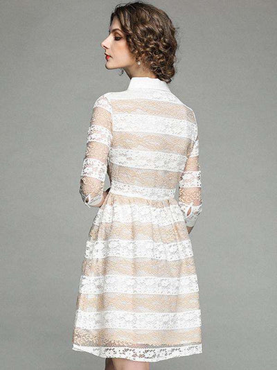 Lace Stripe Turn-Down Collar 3/4 Sleeve A-Line Casual Dresses