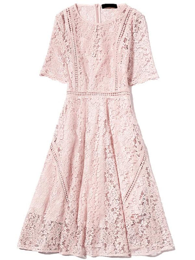 Lace Pure Color O-Neck Short Sleeve A-Line Dress