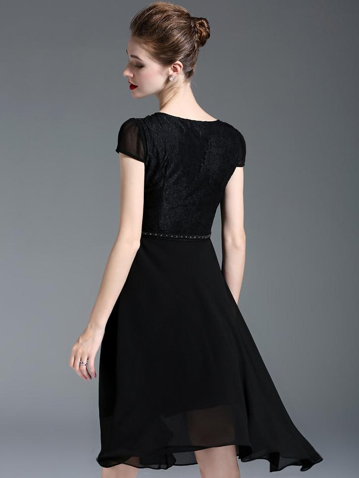 Lace Stitching O-Neck Short Sleeve A-Line Dress