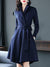 Lapel Collar Long Sleeve Pocket Lacing Wrap Dress
