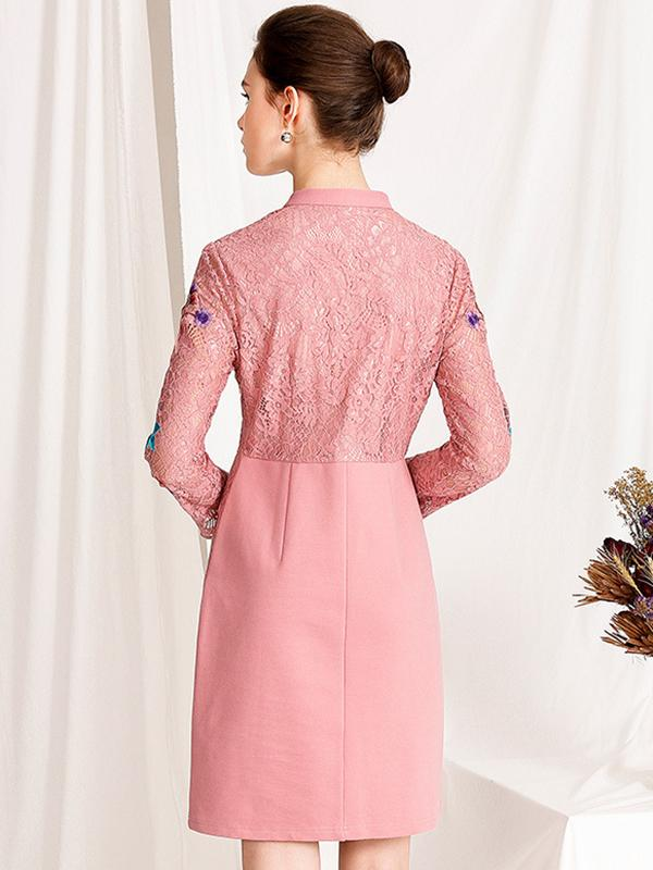 Lace Stitching Embroidery A-Line Dress