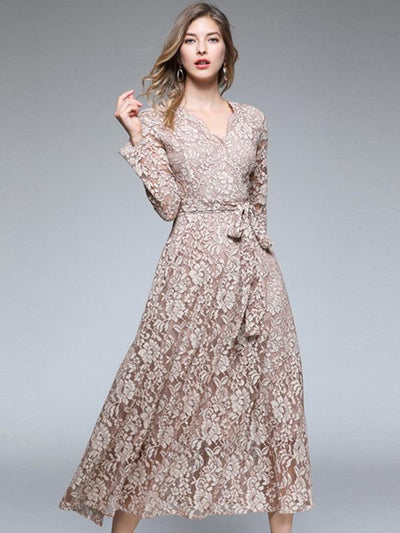 Embroidery Lace V-Neck Long Sleeve Maxi Dress