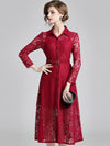Lace Turn-Down Collar Long Sleeve A-Line Dress