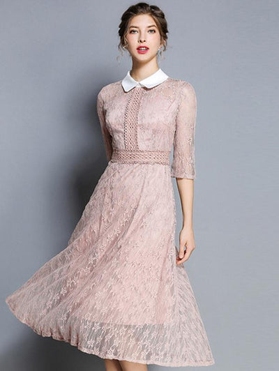 Turn-Down Collar 3/4 Sleeve Lace Skater Dress