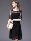 Lace Stitching Square Neck Half Sleeve Skater Dress
