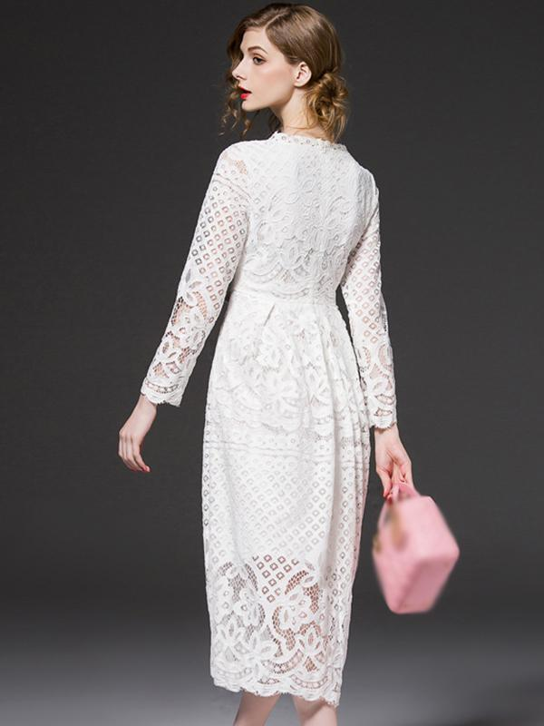 Lace O-Neck Long Sleeve Big Hem A-Line Dress Without Belt