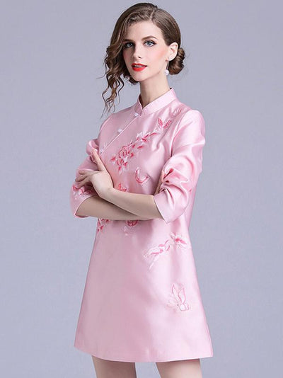 Long Sleeve Stand Collar Embroidery Skater Dress