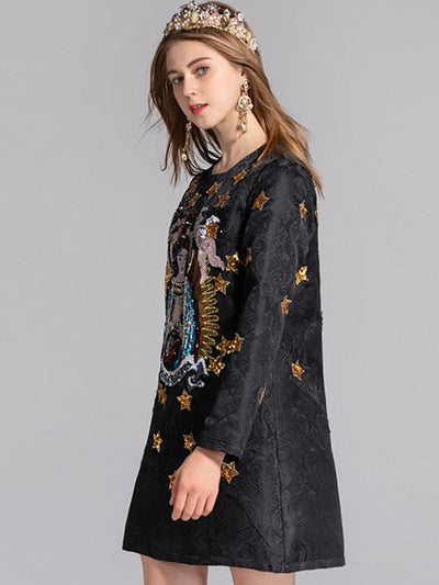 Long Sleeve O-Neck Paillette Print Shift Dress