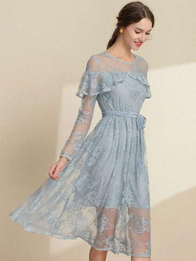 Falbala Lace O-Neck Long Sleeve Lacing A-Line Dress