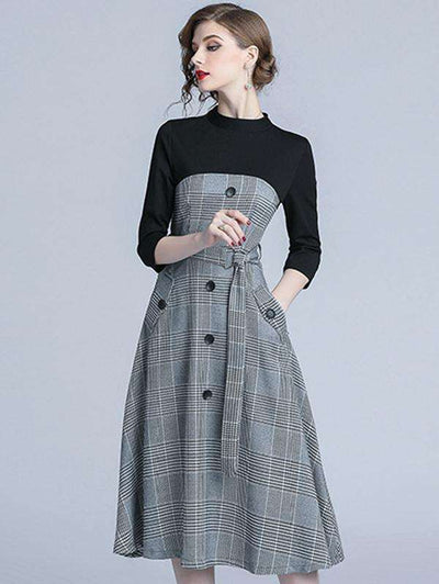 Plaid Stitching Stand Collar Pocket A-Line Casual Dresses