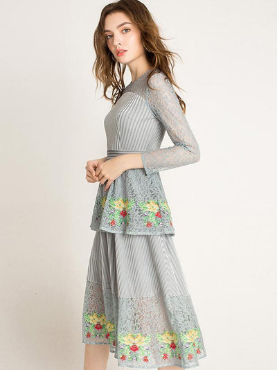 Lace Stitching O-Neck Long Sleeve Embroidery A-Line Dress