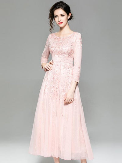 Embroidery O-Neck Long Sleeve Mesh Maxi Dress