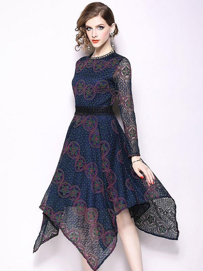 Lace Hollow Out O-Neck Flare Sleeve Skater Casual Dresses