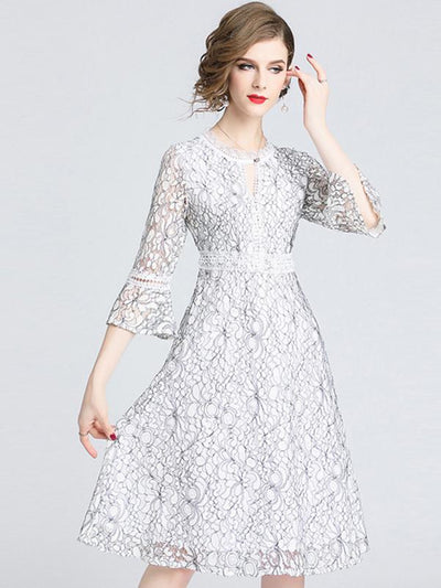 Lace Hollow Out O-Neck Flare Sleeve Skater Dress