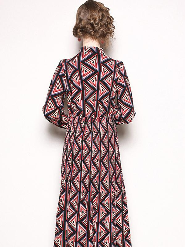 Lacing Bowknot Long Sleeve Print Fit & Flare Dress
