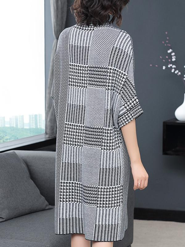 Houndstooth Stand Collar 3/4 Sleeve Pocket Shift Dress