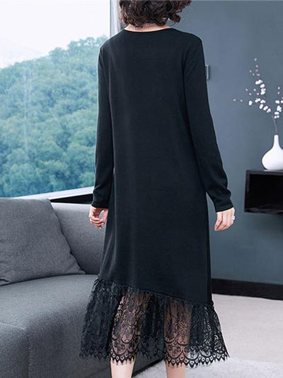 Lace Stitching O-Neck Long Sleeve Shift Dress