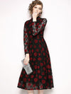 Lace O-Neck Long Sleeve Print A-Line Dress