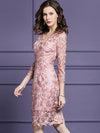 Elegant V-Neck 3/4 Sleeve Lace Fit Flare Dress