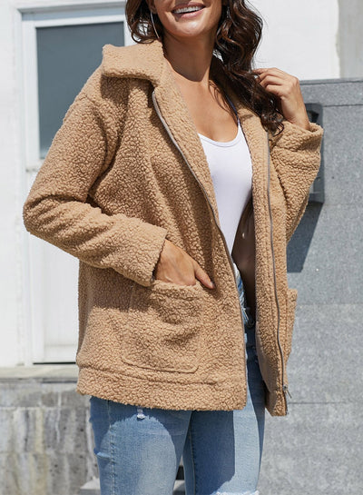 Women Plush Lapel Wool Coats