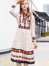 Lacing Bowknot 3/4 Sleeve Print A-Line Dress