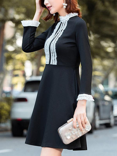 Lace Stitching O-Neck Long Sleeve Pure Color Skater Dress