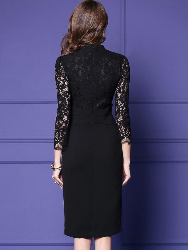 Hollow Out V-Neck 3/4 Sleeve Lace Stitching Bodycon Dress