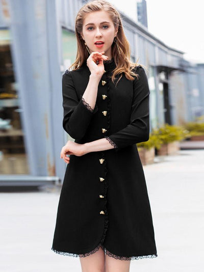 Black Lace Stand Collar 3/4 Sleeve Fit  Flare Dress