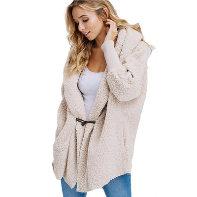 Plush Hooded Pure Long sleeve Coats