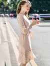 Casual Elegant Lace Stitching Bowknot Lacing O-Neck Fit Flare Dress
