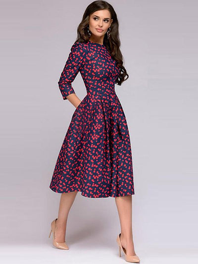 Party Retro Three Quarters Sleeve Floral Skater Dress