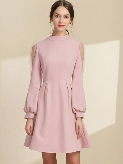 Sweet Stand Collar Puff Sleeve Bowknot Fit & Flare Dress