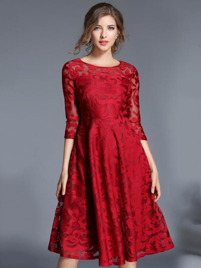 Fashion Lace O-Neck 3/4 Sleeve Fit Flare Dress