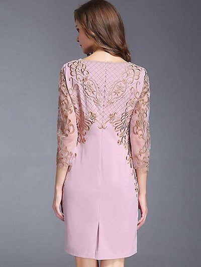 Chic O-Neck Long Sleeve Lace Embroidery Bodycon Casual Dresses