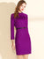 Chic Woollen Stitching Pure Color Stand Collar Lacing Bodycon Dress
