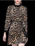 Fashion Leopard Print Velour Stand Collar Lacing Midi Dress